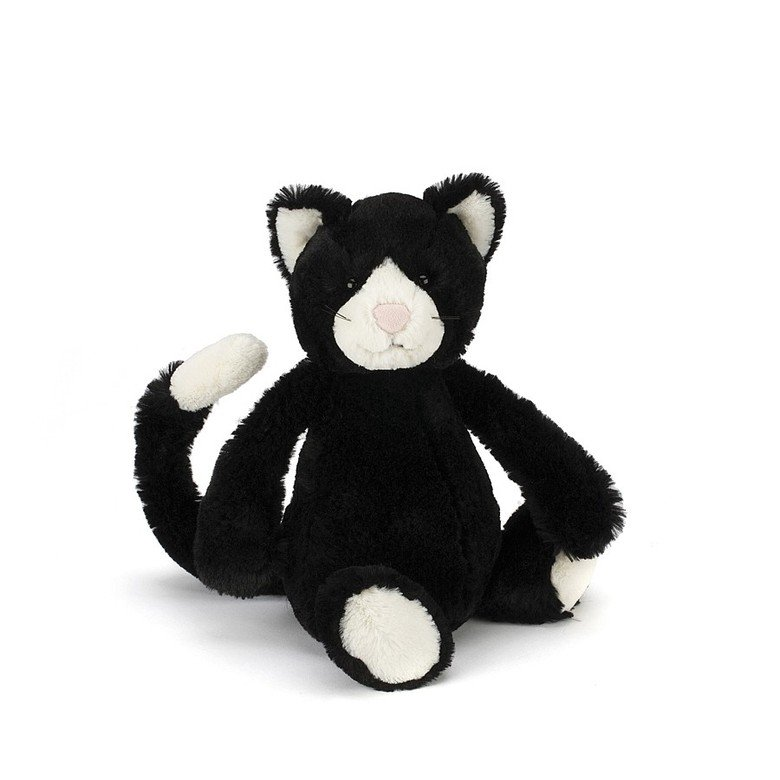 Bashful Black and White Kitten Soft Toy