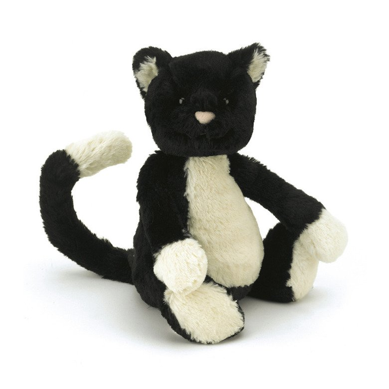 Bashful Black & White Cat Soft Toy