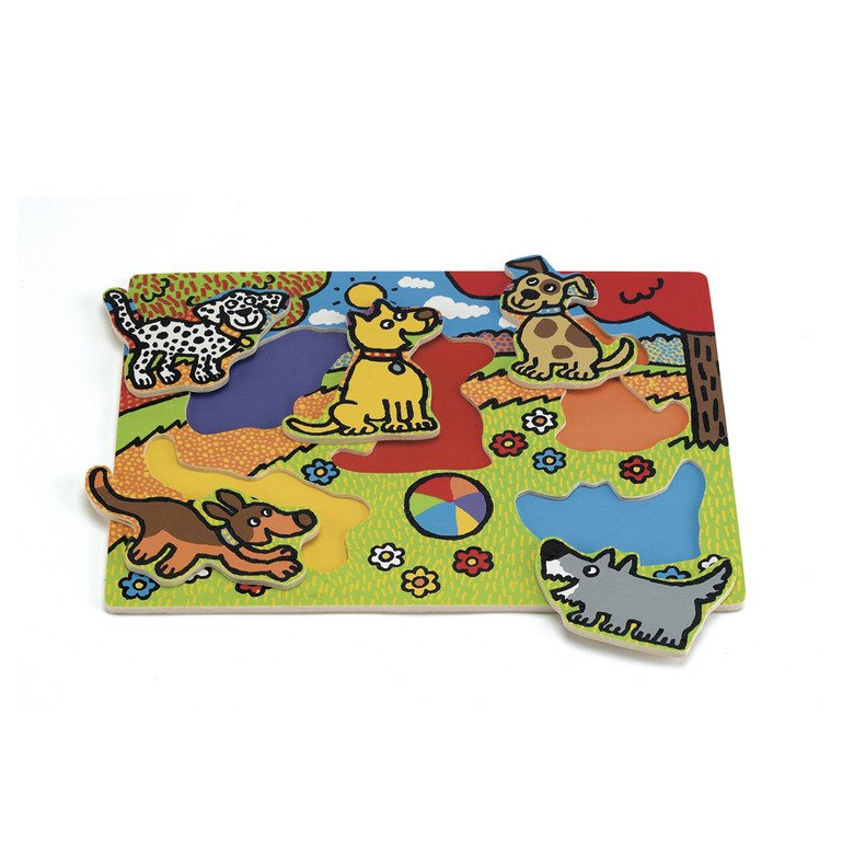 Puppy Tails Pull Out Puzzle Wooden Toys