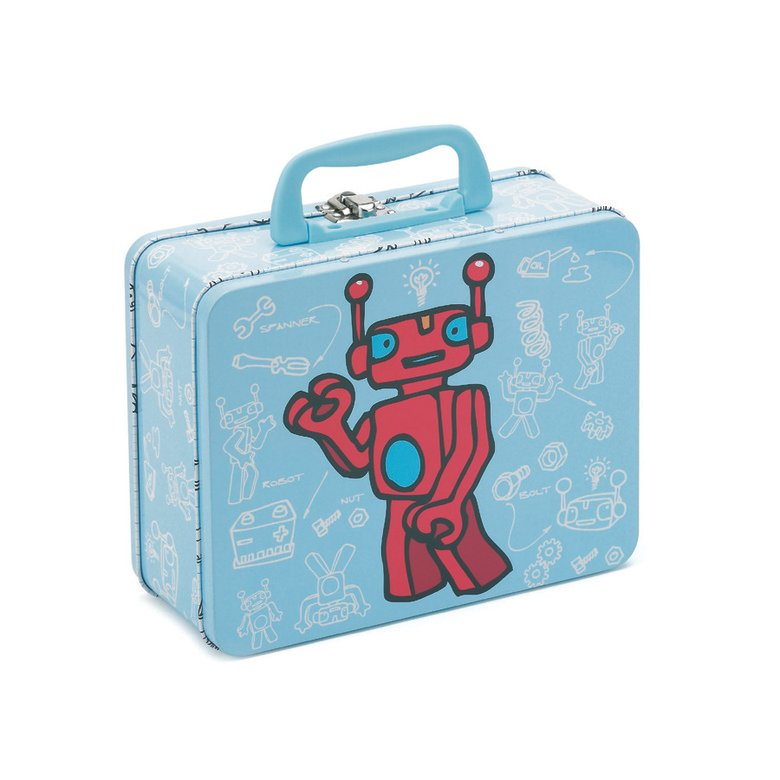 Robot Tin Case Storage Tin