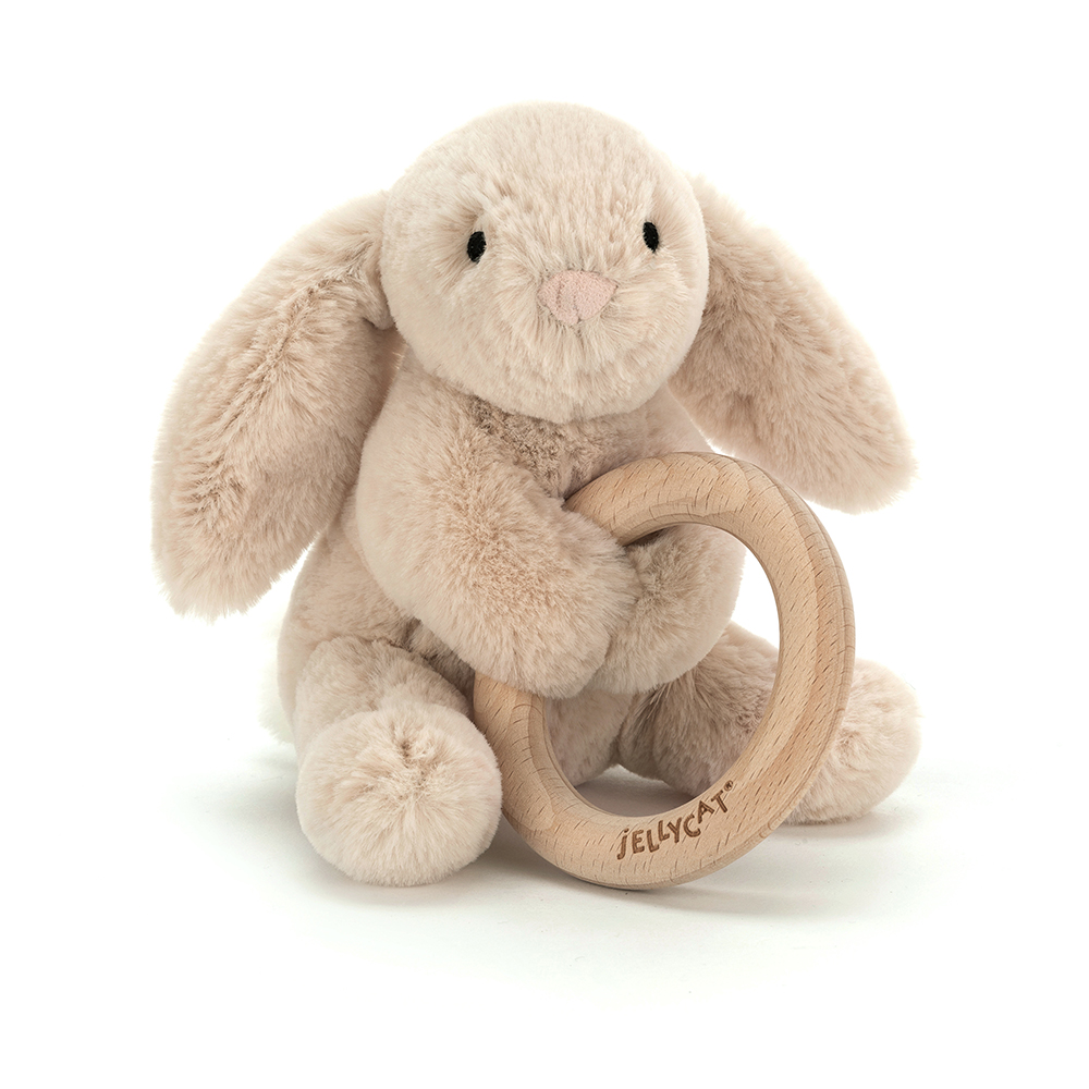 6 inches Jellycat Bailey Sloth Wooden Ring Baby Rattle Teethng Toy